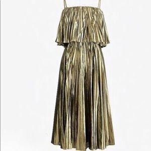 J. Crew Pleated Midi Gold Dress